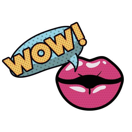 lips saying wow avatar character vector illustration design Stock Illustratie