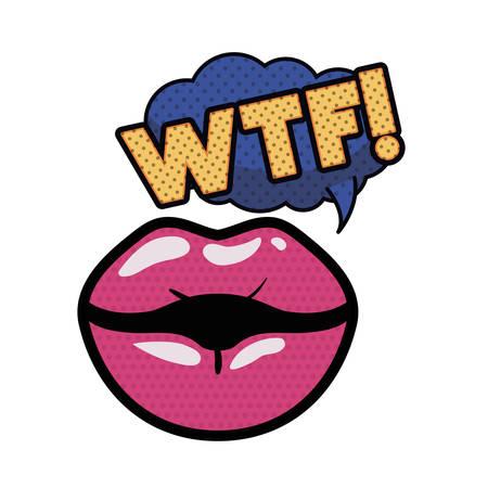 lips saying wtf avatar character vector illustration design