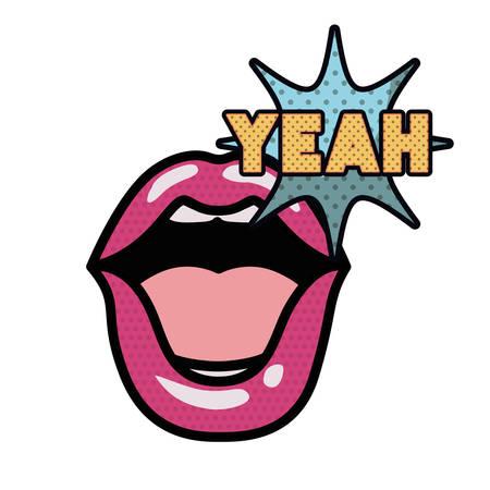 lips saying yeah avatar character vector illustration design  イラスト・ベクター素材