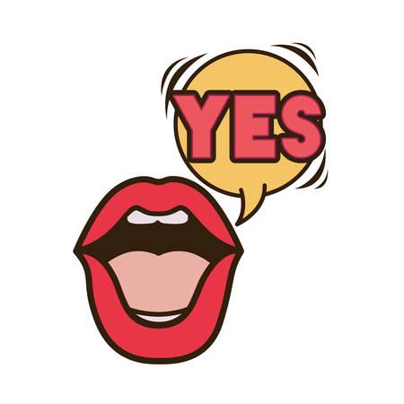 lips saying yes avatar character vector illustration design Illustration