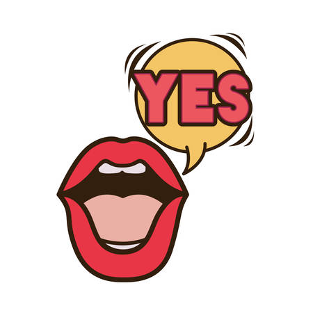 lips saying yes avatar character vector illustration design Illustration