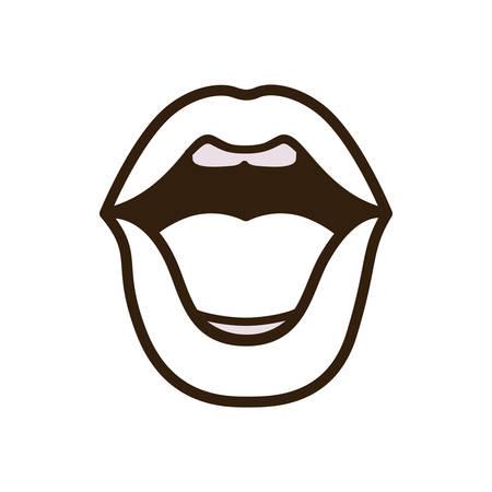 open lips avatar character vector illustration design Stock fotó - 112962270
