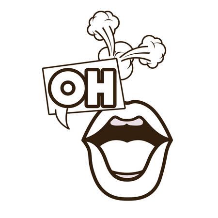 lips saying oh avatar character vector illustration design