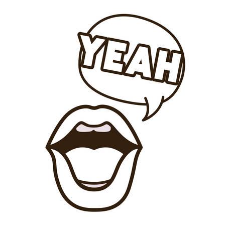 lips saying yeah avatar character vector illustration design Stock Illustratie