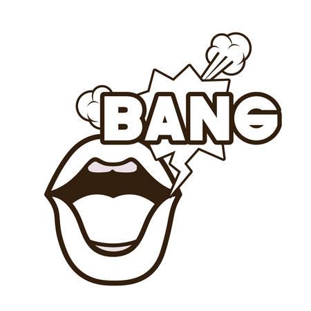 lips saying bang avatar character vector illustration design