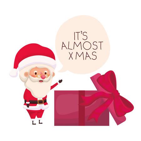 santa claus with gift box avatar character vector illustration desing