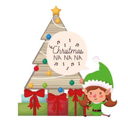 elf woman with christmas tree and gifts vector illustration desing
