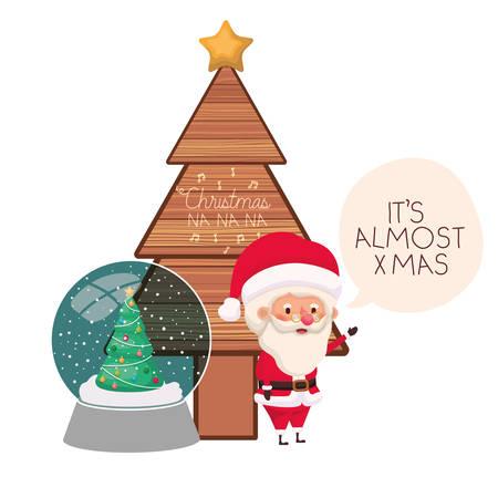 santa claus with christmas tree vector illustration desing Illustration