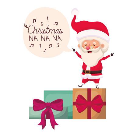 santa claus with gifts boxs avatar character vector illustration desing Vectores