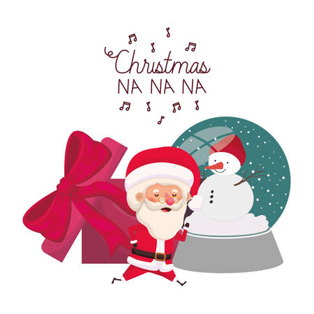santa claus with crystal ball and gift box vector illustration desing 向量圖像