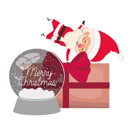 santa claus with crystal ball and gift box vector illustration desing Vettoriali