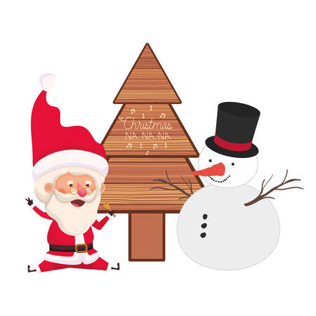 santa claus with christmas tree and snowman vector illustration desing