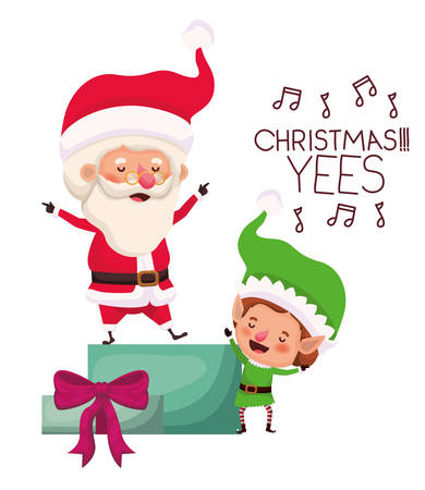 santa claus and elf with gift box vector illustration desing Vectores