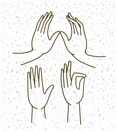 hands gestures set drawing vector illustration design