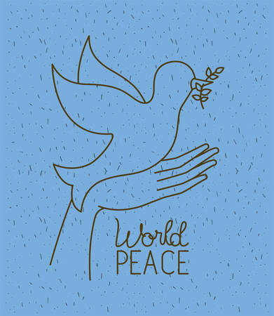 hands with dove world peace vector illustration design Illustration