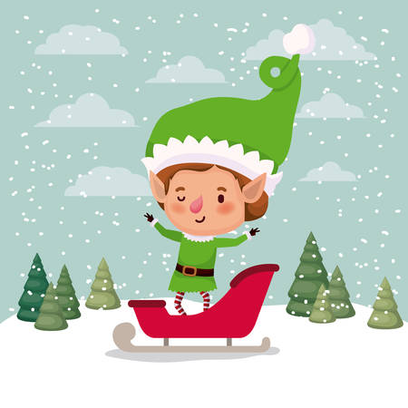 cute santa helper with sled vector illustration design Illustration