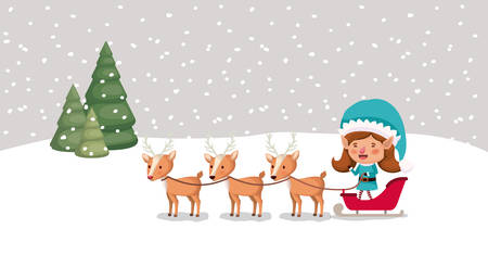 cute girl santa helper with sled and reindeer vector illustration design