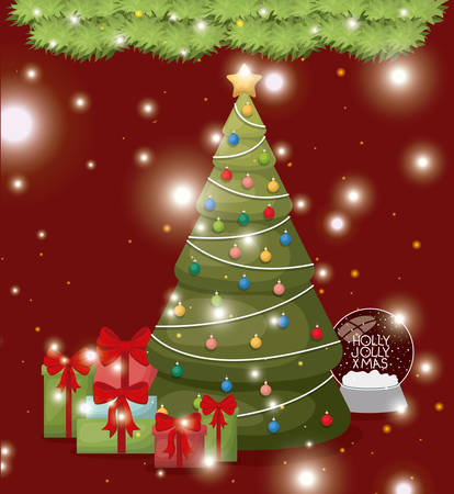 christmas pine tree with gifts vector illustration design