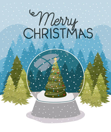 christmas pine tree in sphere and snowscape vector illustration design