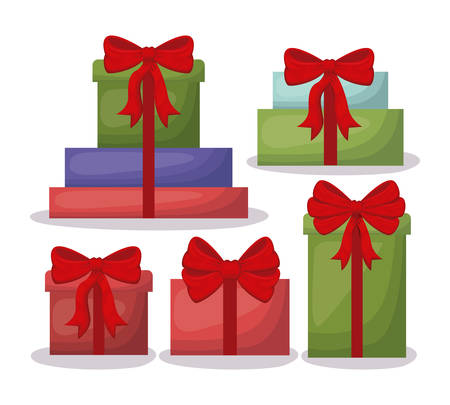 christmas card with set gifts vector illustration design 일러스트