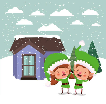 couple santa helpers in snowscape vector illustration design Ilustração
