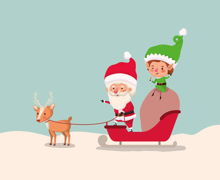 santa clous and helper with sled vector illustration design Illustration