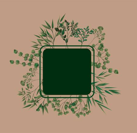 square frame with laurel leafs vector illustration design  イラスト・ベクター素材