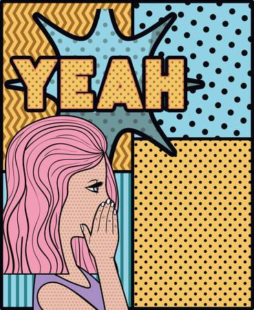 woman saying yeah pop art style vector illustration design