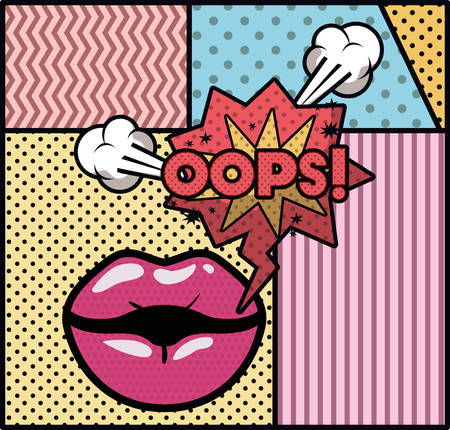 mouth saying oops pop art style vector illustration design