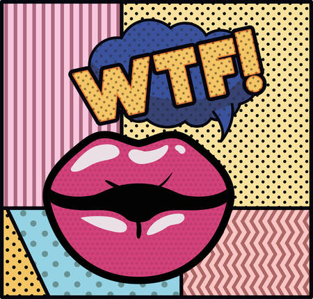 mouth saying wtf pop art style vector illustration design