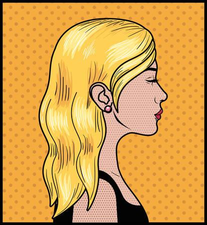blond woman pop art style vector illustration design Illustration