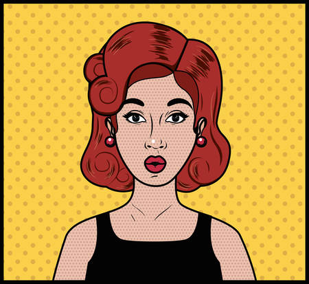 redhead woman pop art style vector illustration design