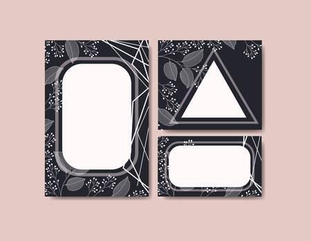 cards with elegant frame and floral decoration vector illustration design