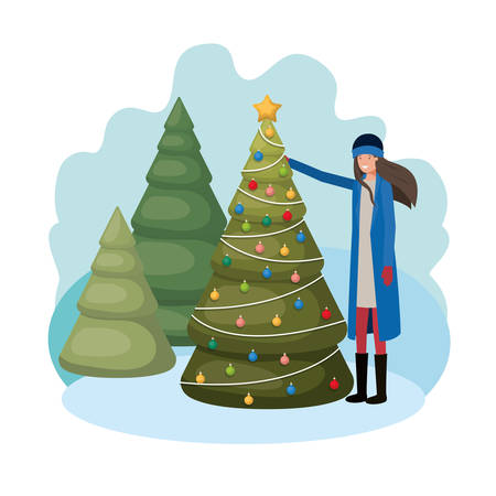 woman with christmas tree in landscape vector illustration desing