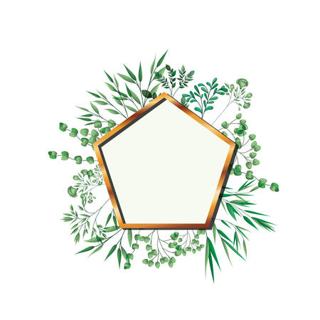 golden frame pentagon with foliage isolated icon vector illustration desing