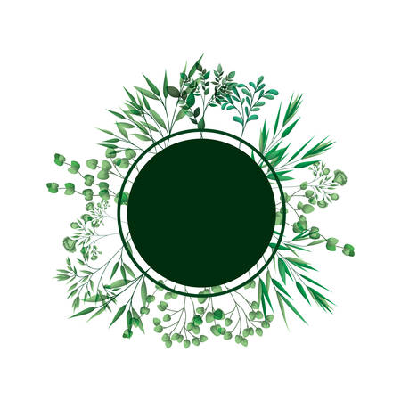 green frame with branches and leafs vector illustration desing  イラスト・ベクター素材