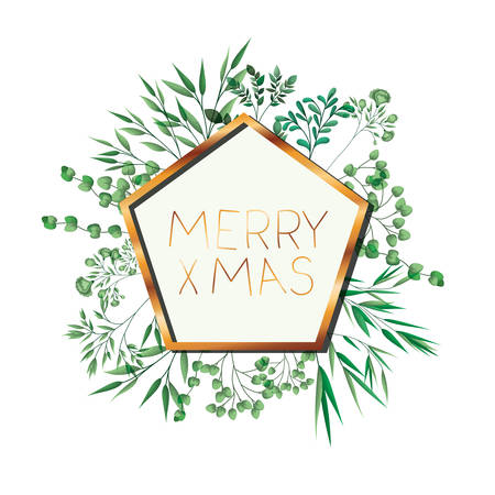 golden frame with label merry christmas vector illustration desing