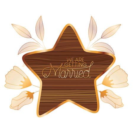 wedding invitation in frame of wooden vector illustration desing Illustration