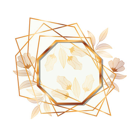 frame golden with flowers isolated icon vector illustration desing