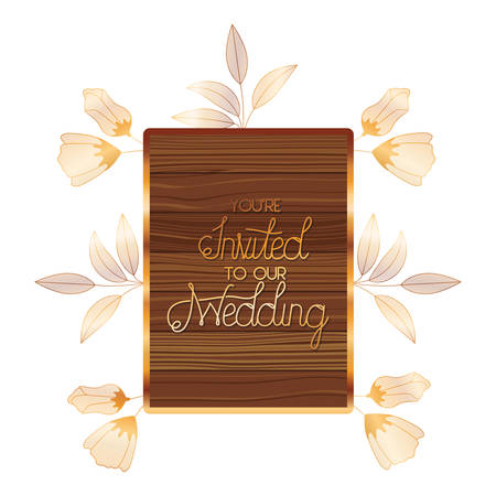 wedding invitation in frame of wooden vector illustration desing Illustration