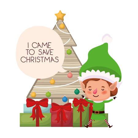elf with christmas tree and gifts vector illustration desing Vectores