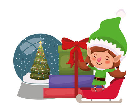 elf woman with sled and crystal ball vector illustration desing