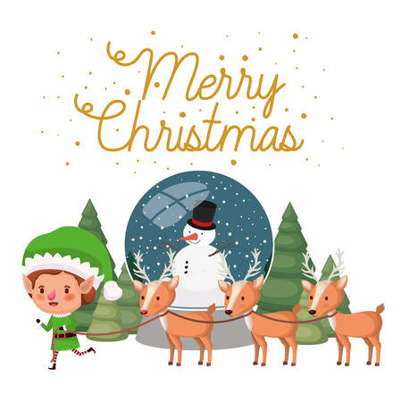 elf with reindeer and crystal ball avatar character vector illustration desing