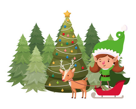 elf woman with reindeer and christmas tree vector illustration desing Illustration