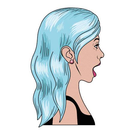 Femme avec caractère avatar visage surprise design illustration vectorielle
