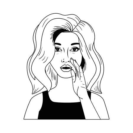 woman telling a secret avatar character vector illustration design