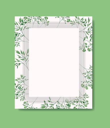 card with square frame and laurel leafs vector illustration design