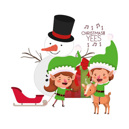 couple of elves with gift box and snowman vector illustration desing