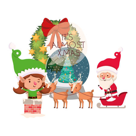 santa claus and elf woman with crystal ball vector illustration desing