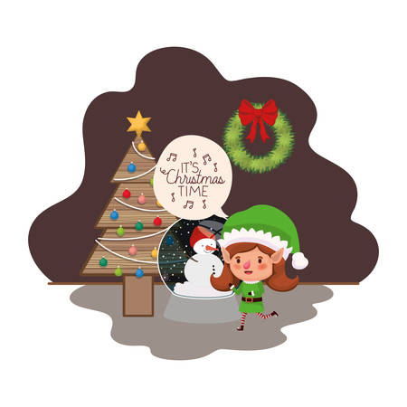 elf woman with christmas tree and crystal ball vector illustration desing Vectores